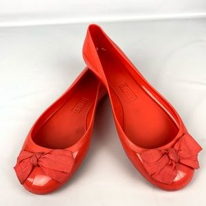 J crew flats coral size 8 bow up front